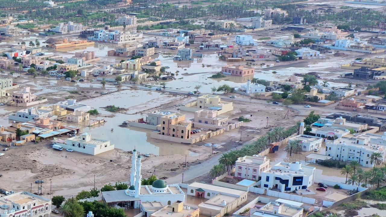 Flooding in al-Khaburah, which saw 369mm of rain. Picture: Haitham Al-Shukairi/AFP