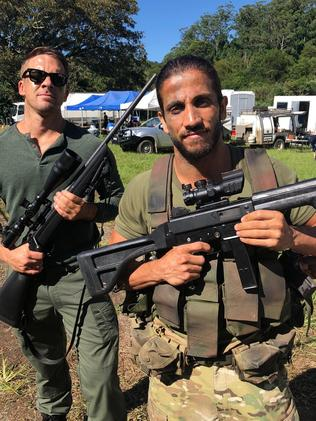 Hugh Sheridan and Dirani filming Escape and Evasion on the Gold Coast.