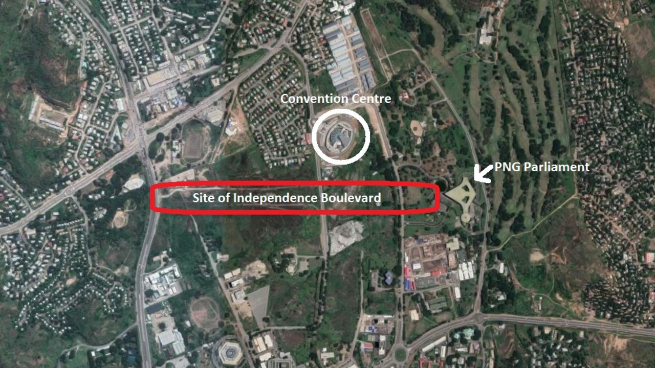 Independence Boulevard starts at the parliament and passes the Convention Centre, where the APEC summit is being held. But it then ends on a local road. Picture: Google Maps.