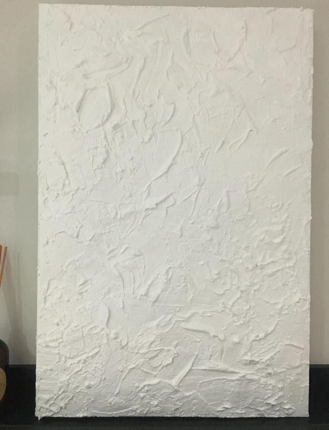Ms Le Bas used a sample pot of paint, an old canvas and plaster of Paris to create the artwork. Picture: Supplied