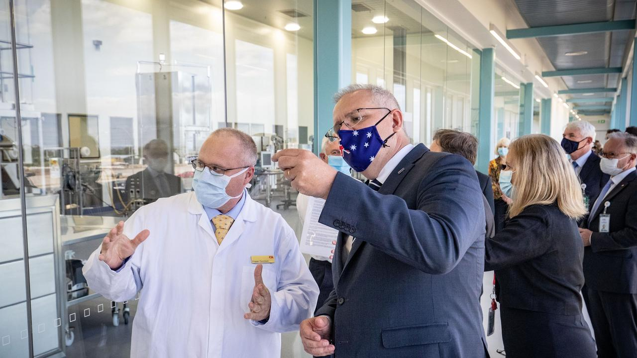 Prime Minister Scott Morrison at the CSL Lab in Melbourne where a COVID-19 vaccine is being produced. Picture: Darrian Traynor /Pool/Getty Images via NCA NewsWire