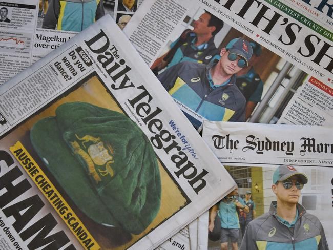 Australian newspapers shame the national team. Picture: AFP PHOTO / Peter PARKS