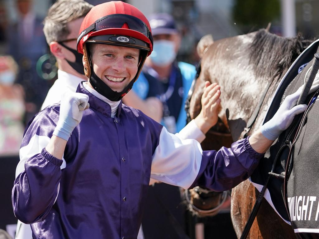 Jye McNeil returns to the mounting yard with Twilight Payment (IRE) after winning the Lexus Melbourne Cup at Flemington Racecourse on November 03, 2020 in Flemington, Australia. (Scott Barbour/Racing Photos via Getty Images)