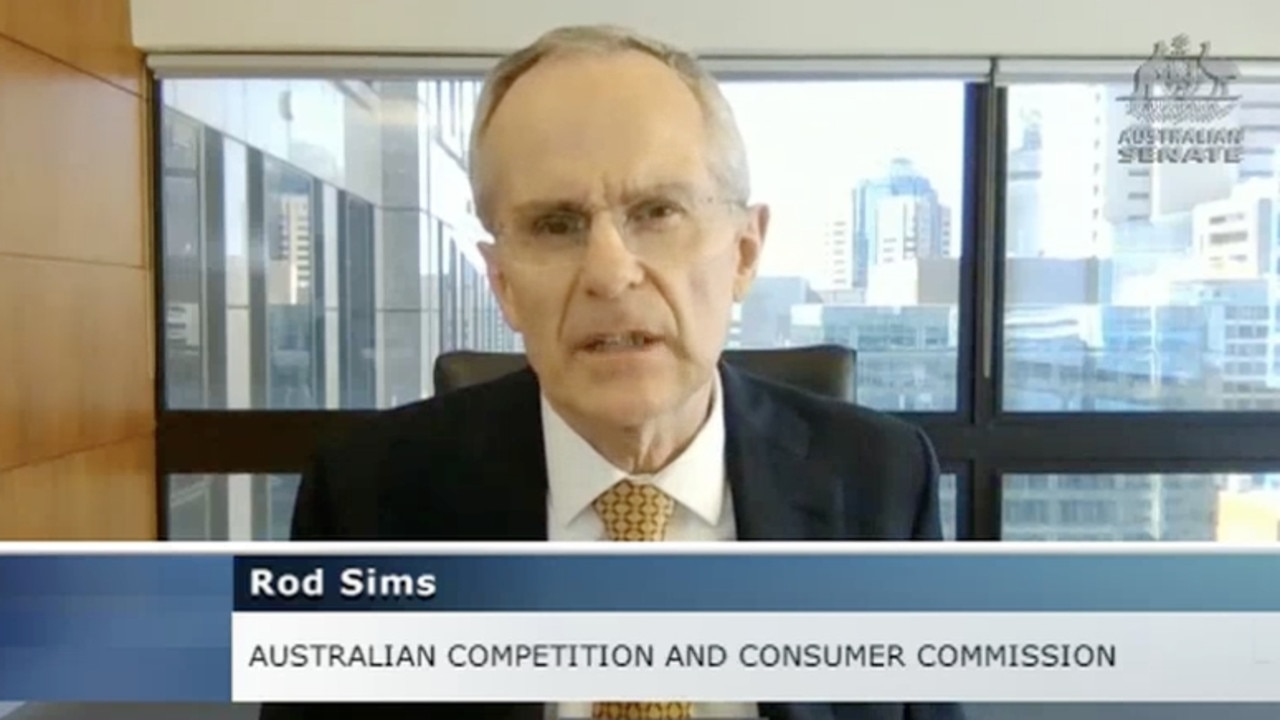 ACCC chair Rod Sims faces the Senate Committee into the proposed news code.