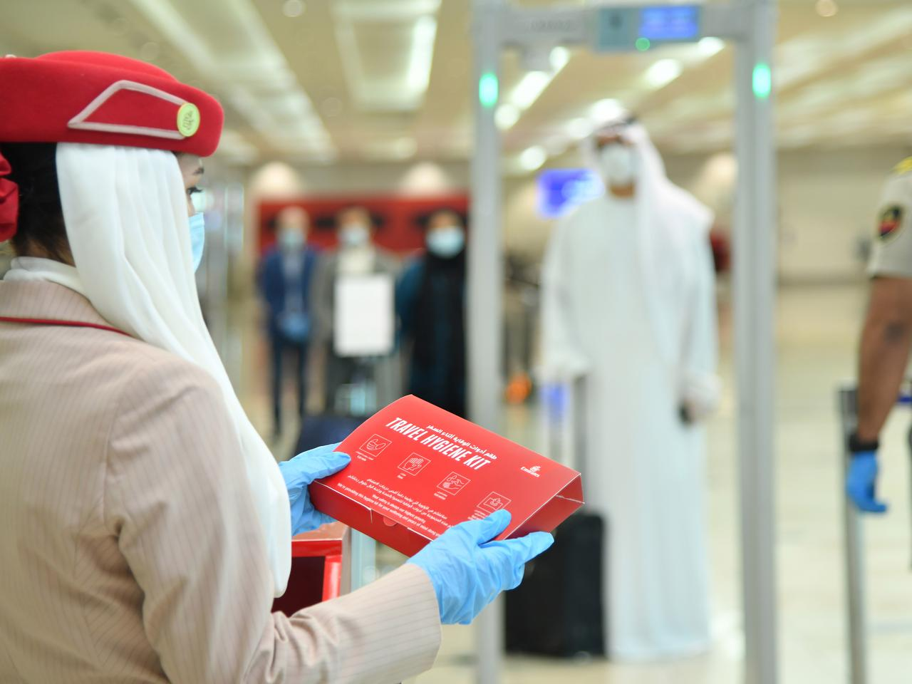 Emirates has introduced complimentary hygiene kits to be given to every passenger upon check in at Dubai International Airport and on flights to Dubai.