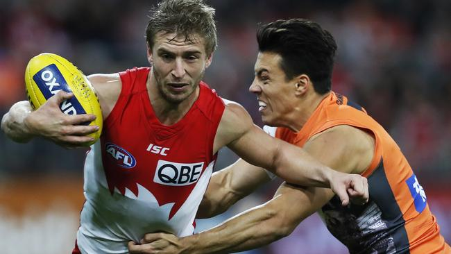 The win-loss ledger is locked at 1-1 between Sydney and GWS this year. Picture. Phil Hillyard