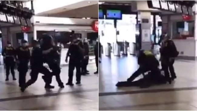 Victoria Police will investigate the arrest of a man at Flinders Street Station after confronting footage was shared to social media. Picture: Twitter