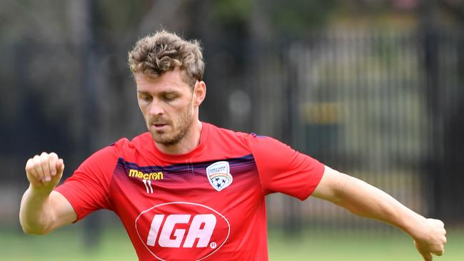 Adelaide United training at Elizabeth Grove, Adelaide photographed on Saturday the 10th of February 2018. Player — Johan Absalonsen (AAP/ Keryn Stevens)