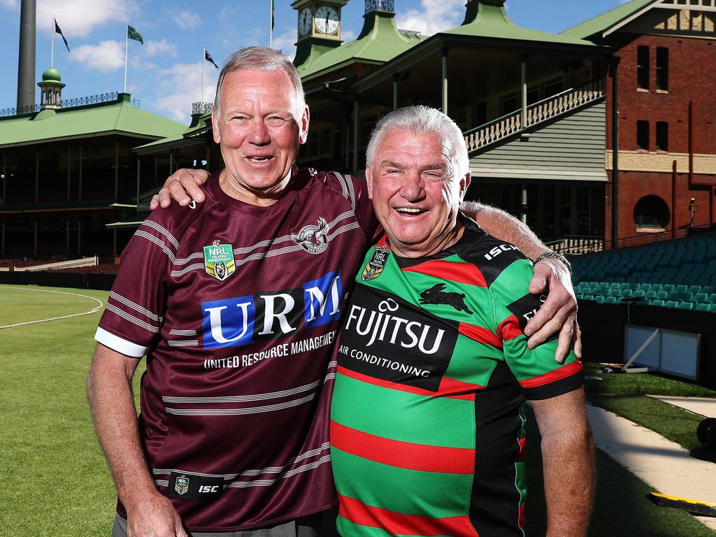 Rugby league greats Malcolm Reilly and George Piggins at the SCG.