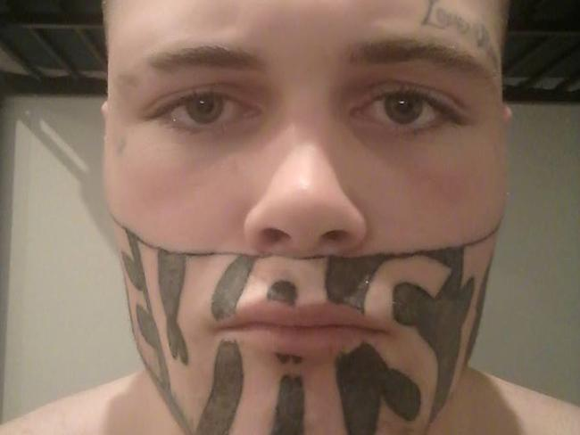 Mark Cropp's face tattoo is 'an affront'. Picture: Mark Cropp/Facebook