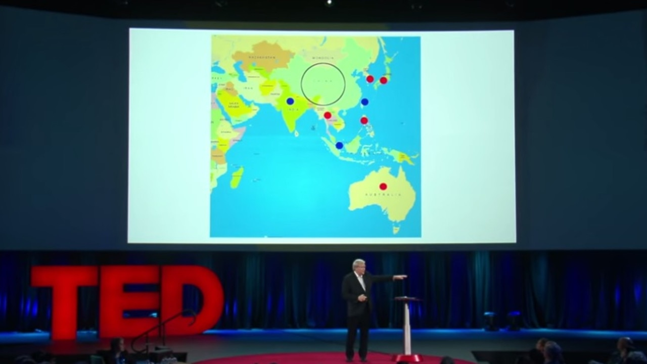 Kevin Rudd giving a TED Talk in 2015.