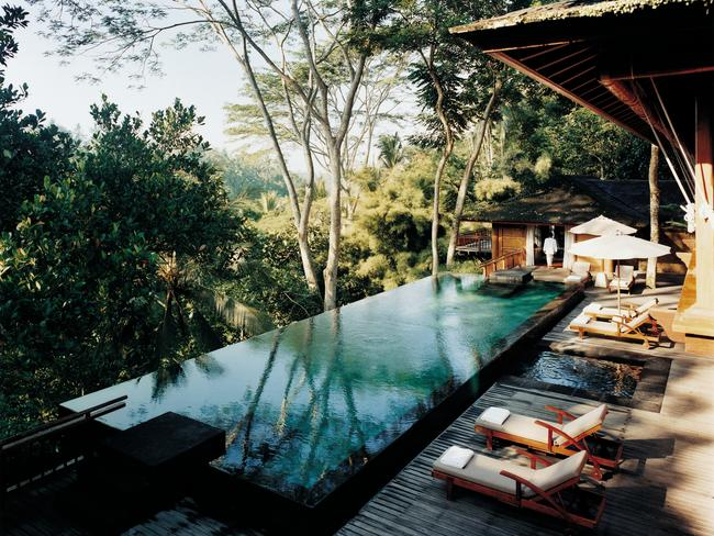 COMO SHAMBHALA Known for its holistic wellness offerings, the oft-accoladed Como Shambhala is a firm favourite of John Legend and Chrissy Teigen. Luxe pool bungalows overlook Ubud's lush jungle and healing therapies such as ayurveda, hydrotherapy, massage, restorative skincare and raw cuisine are designed to nourish from the inside out.