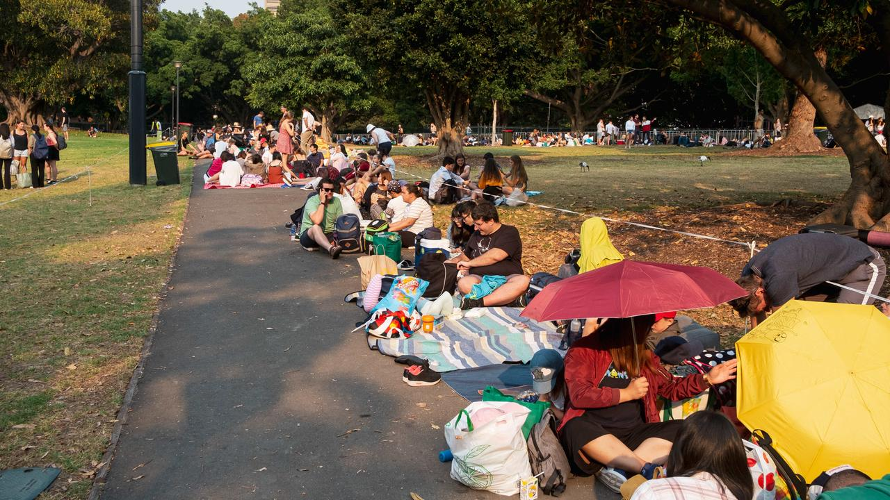 There was also an enormous queue in The Domain in Sydney's CBD today. Picture: Flavio Brancaleone