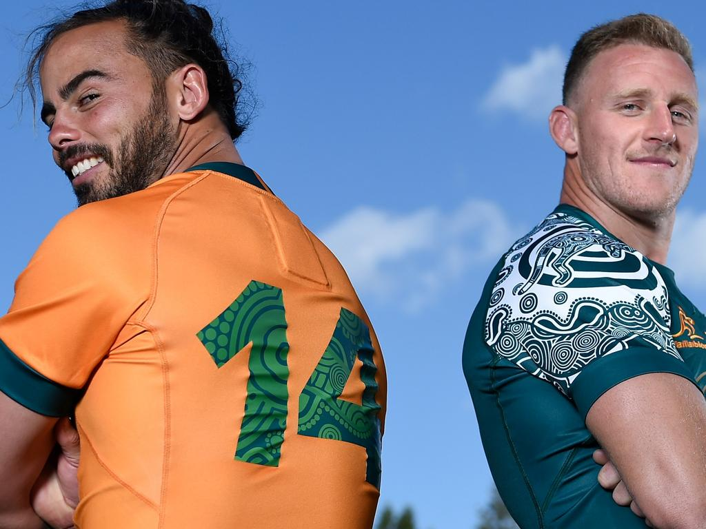 GOLD COAST, AUSTRALIA - SEPTEMBER 08: (L-R) Andy Muirhead and Reece Hodge pose during an Australian Wallabies media opportunity at Royal Pines Resort on September 08, 2021 in Gold Coast, Australia. (Photo by Matt Roberts/Getty Images)