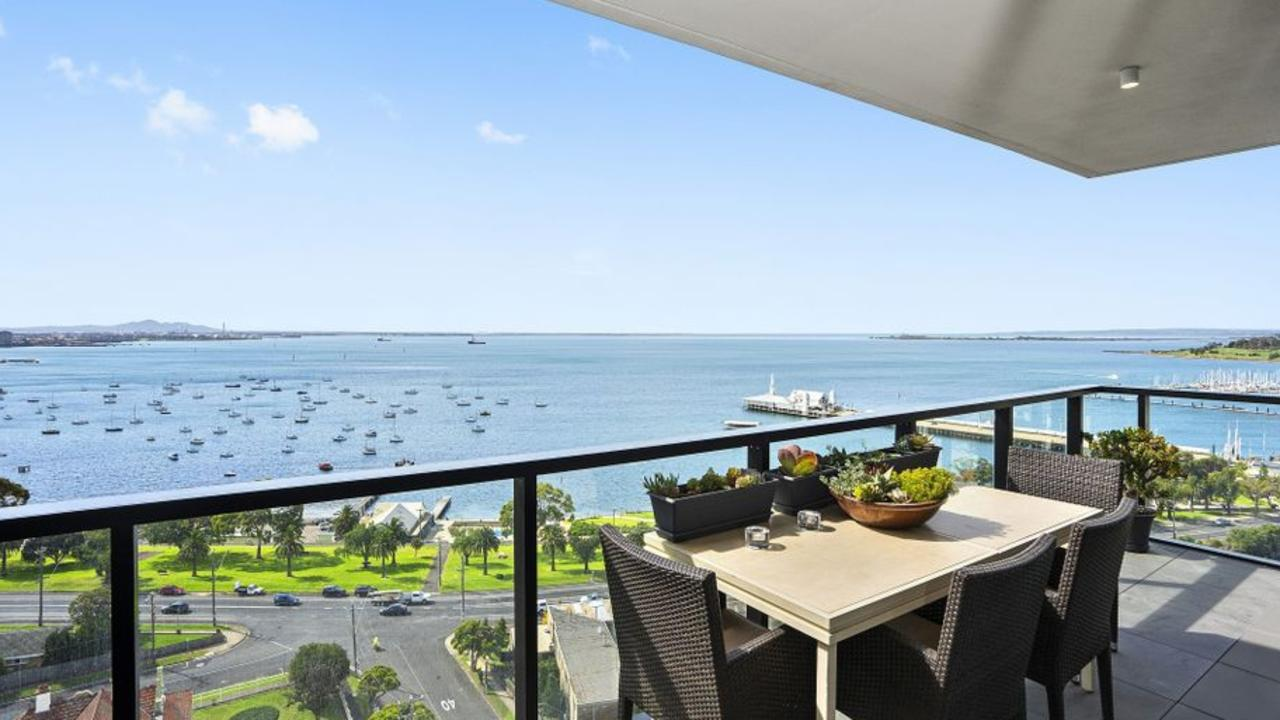 The knockout view from a four-bedroom apartment at 1205/18 Cavendish St, Geelong, listed with price hopes of $2.2 million.