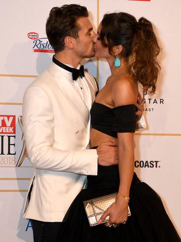 The Bachelor stars Matty J and Laura arrive at the 2018 Logies. Picture: AAP