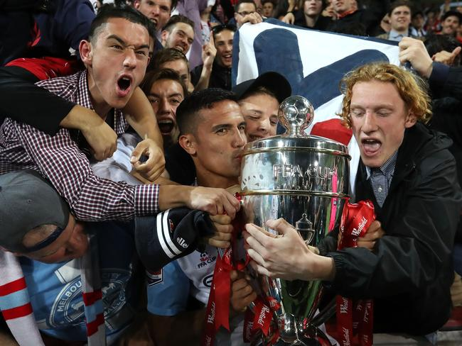 Cahill with fans after City defeated Sydney FC. Picture: Getty