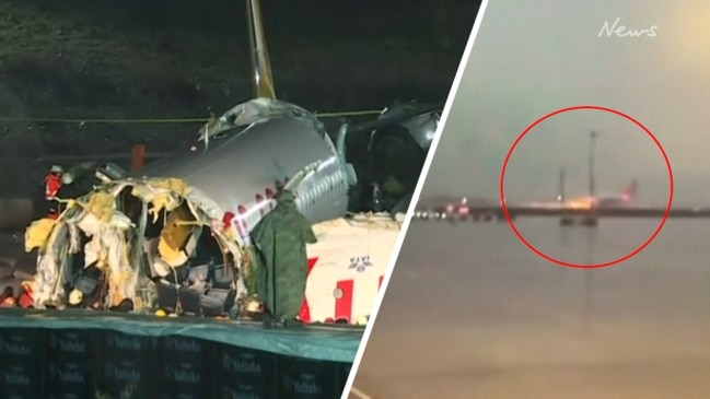 Watch the moment a plane breaks into three after skidding off Istanbul runway
