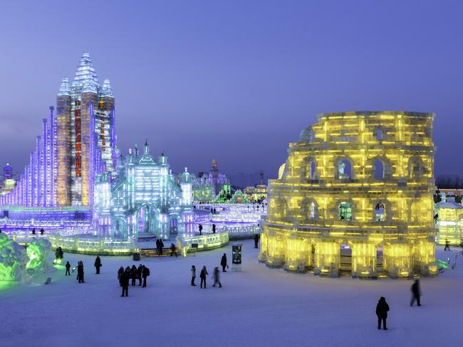 CHINA'S ICE AND SNOW SCULPTURE FESTIVAL The elaborate sculptures at the Harbin International Ice and Snow Sculpture Festival in China's northeastern Heilongjiang province are like something out of an icy fairytale. From towering castles and intricate temples, to recreations of some of the world's most famous landmarks like the Colosseum, it's easy to see why this is the world's biggest ice sculpture festival. Inspired by the region's traditional lanterns, the sculptures were originally illuminated by candles, but these days computer-controlled LEDs help the huge creations take on a technicolour glow. If you've got kids, don't miss Zhaolin Park, where the enormous ice slides are the most popular attraction.