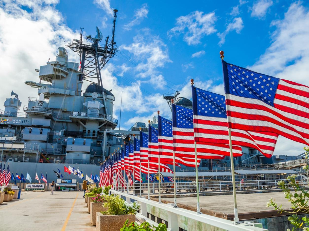 Missouri Warship memorial flags