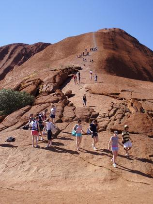 ONE TIME USE... 26/11/2007 TRAVEL: climbing Uluru .. Pic by Emma Pryer .. One-time use only
