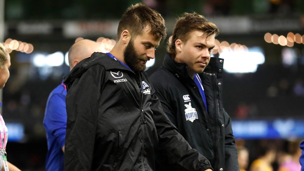 Luke McDonald and Cameron Zurhaar of the Kangaroos picked up injuries. Picture: Michael Willson
