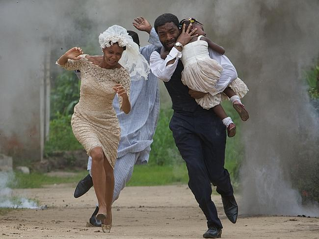 Running for their lives ... Thandie Newton and Chiwetel Ejiofor in a scene from the film,