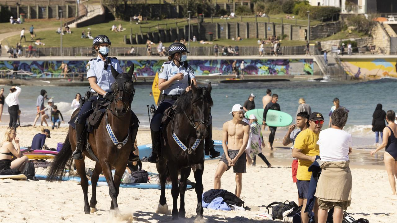 Police patrol Bondi Beach on the weekend. Picture: Getty Images