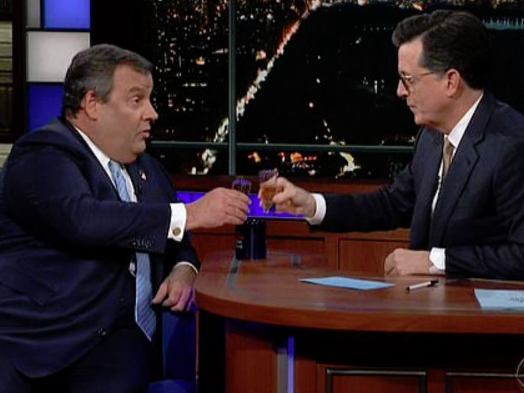 Chris Christie downed tequila with Stephen Colbert. Picture: CBS