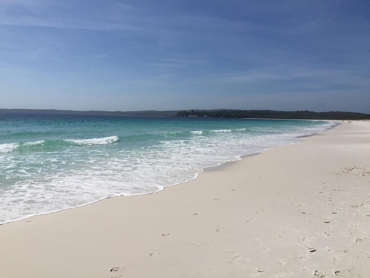 HYAMS BEACH, NSW  ..  John McGourty story  .. Hyams Beach looking south to the naval base.