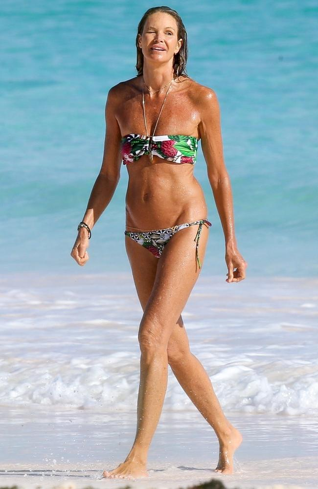 Elle Macpherson hit the beach in the Bahamas. Picture: MiamiPIXX/BackGrid