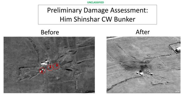 This image  presented at the Pentagon briefing on Saturday shows before and after images from the Him Shinshar Chemical Weapons Bunker in Syria.