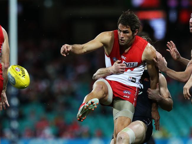 Sydney Swans' Josh Kennedy kicks under pressure during AFL match Sydney Swans v Carlton at the SCG. pic. Phil Hillyard
