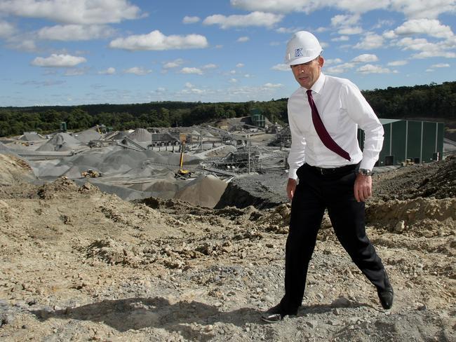 Then-Opposition leader Tony Abbott visiting Karreman Quarries at Mt Cotton in 2010. Picture: Tim Marsden