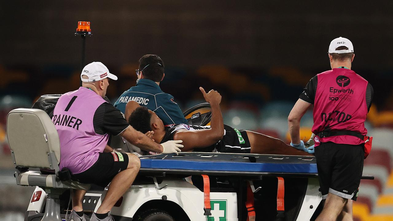 Isaac Quaynor was taken from the field during the fourth quarter. Photo: Michael Klein.