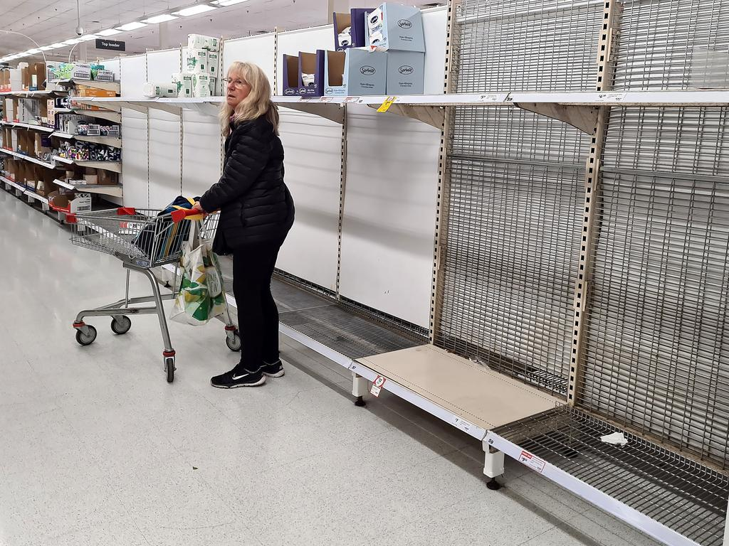 Toilet paper shelves were cleaned out. Picture: Alison Wynd