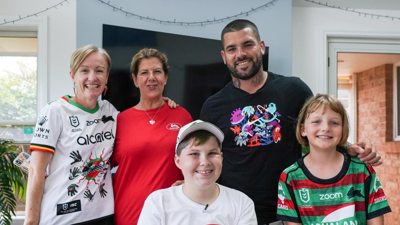 Jake Spurdle with friends, family and Rabbitoh Adam Reynolds. Pic Supplied