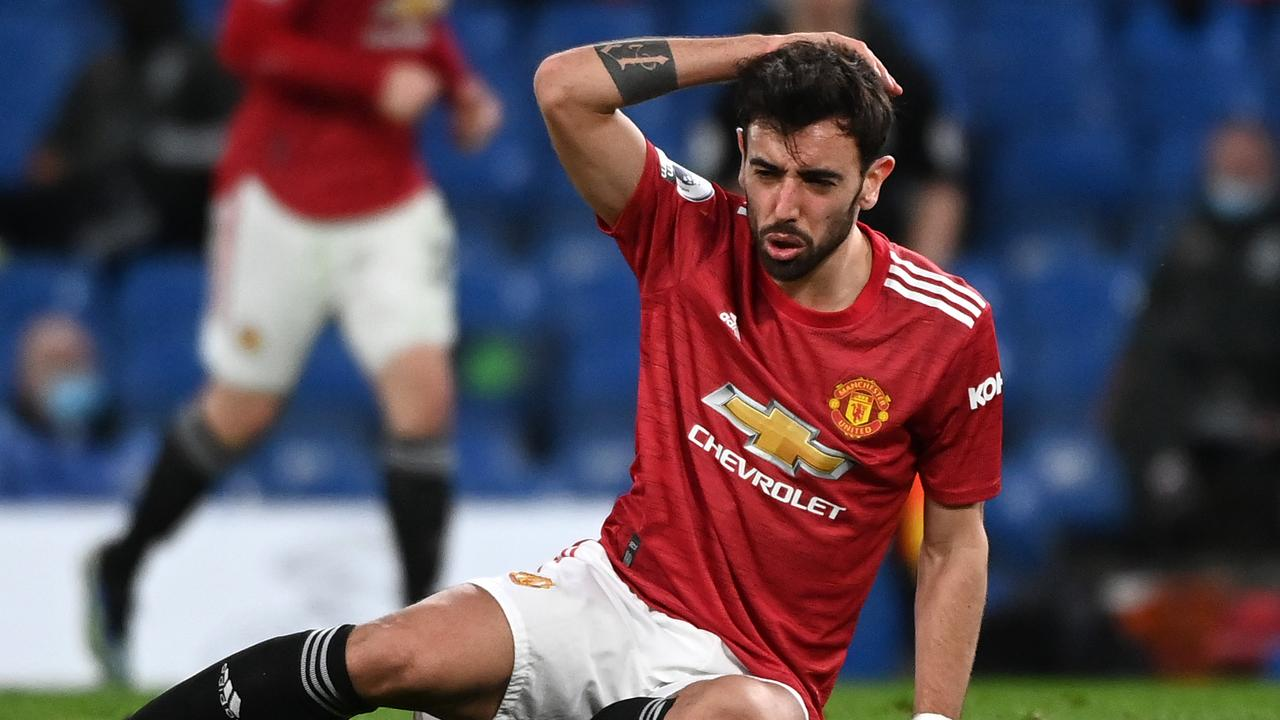Bruno Fernandes and Manchester United were left frustrated by the result. (Photo by Andy Rain - Pool/Getty Images)