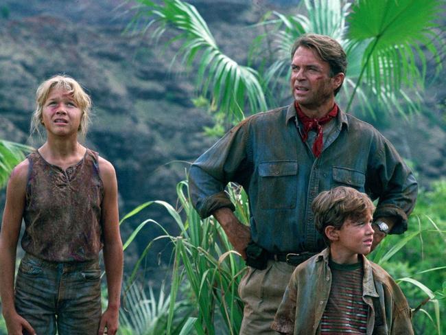 Ariana Richards, Sam Neil and Joseph Mazzello in Jurassic Park.