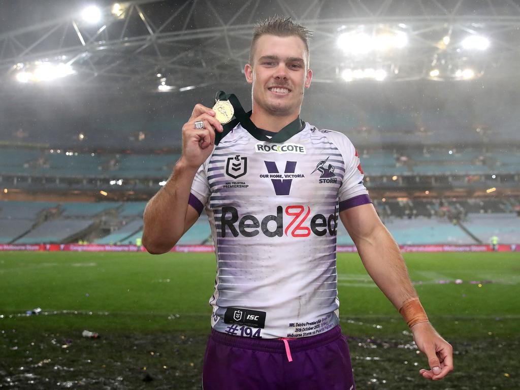 Ryan Papenhuyzen of the Storm poses with the Clive Churchill Medal.