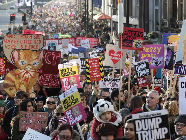 Protesters make their way through the streets of London during the Women's March. Picture: Dan Kitwood/Getty Images