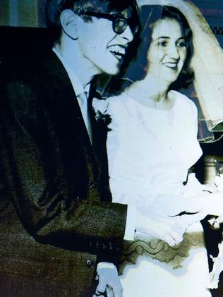 Hawking with first wife Jane Wilde on his wedding day. Picture: AFP Photo/Desiree Martin