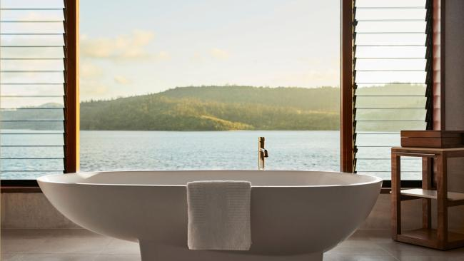 3/11Qualia, Hamilton Island, Qld Smack bang in the middle of the Great Barrier Reef with a reputation for knocking guests' socks off, it's not hard to believe that Qualia is right up there on the beautiful bathroom scale. There's no such thing as a dud room here – each is designed to showcase the magnificent surroundings – but if we had to choose, it's the Windward Pavilions that tick all our boxes. Think free-standing baths infused with tropical flowers and Himalayan salt with panoramic views of the Coral Sea and Whitsunday Island.