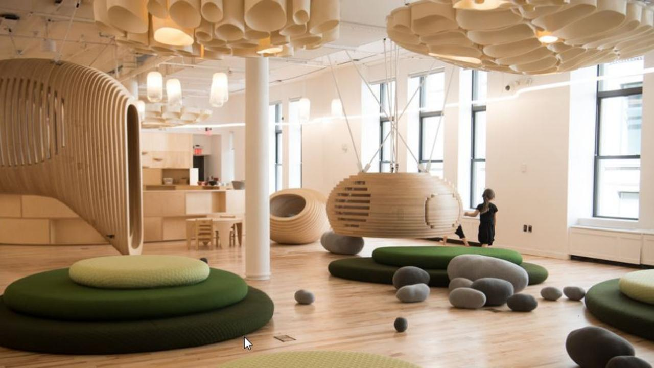 """WeGrow's classroom, a """"field of super-elliptical objects forming a learning landscape that's dense and rational — yet free and fluid."""""""
