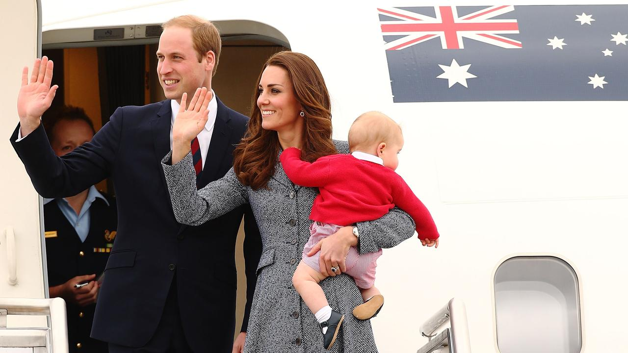 Catherine, Duchess of Cambridge, Prince William, Duke of Cambridge and Prince George of Cambridge leave Canberra after finishing their Royal Visit to Australia on April 25, 2014. Photo: Mark Nolan/Getty Images