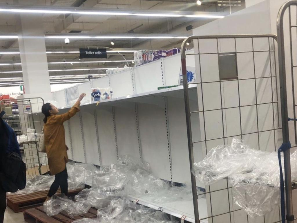 Empty shelves at Coles, East Village, as Sydneysiders rush to stock up on toilet paper and other supplies. Picture: Twitter