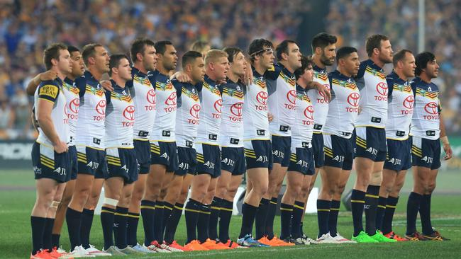The Cowboys during the National Anthem before the 2015 NRL Grand Final.
