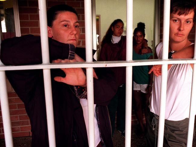 Female inmates at Mulawa correctional prison at Silverwater in the year 2000. Picture: Renee Nowytager.