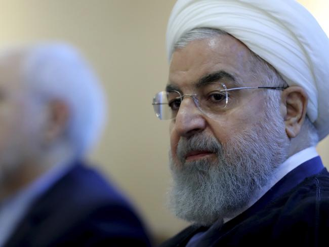 Iranian president Hassan Rouhani warned Mr Trump against stoking tensions by imposing sanctions. Picture: Iranian Presidency Office via AP