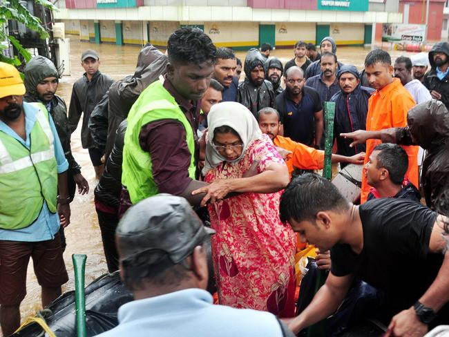 Kerala has been hit with over a third more rain than average. Hundreds of civilians have lost their lives. Picture: AFP